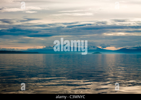 Beautiful Landscape in New Zealand. Sunset and Lake Taupo in New Zealand - Stock Photo