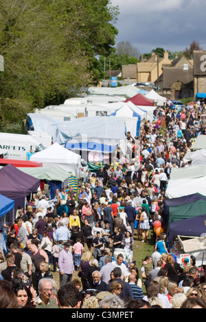 Stalls and Crowds at Stow Horse Fair England - Stock Photo