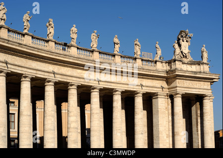 italy, rome, st peter's square, bernini colonnade, statues