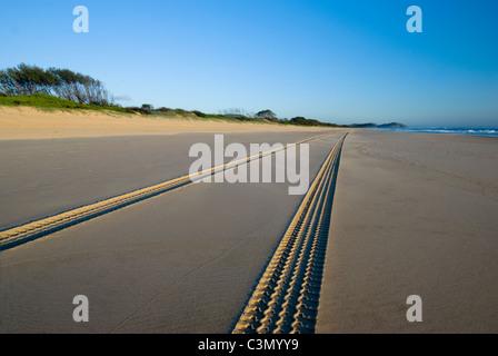 Tyre tracks on the beach - Stock Photo