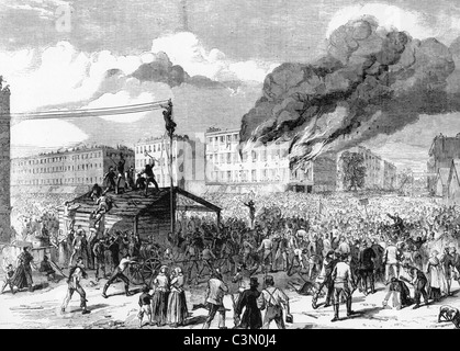 NEW YORK CITY DRAFT RIOTS July 13-16 1863 resulting from Congressional laws to draft men for the Civil War - Stock Photo