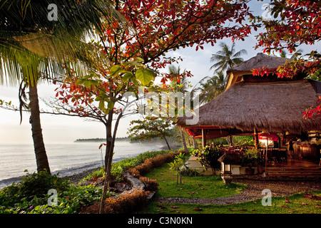 Indonesia, Island Bali, near Tejakula village, Gaia Oasis Resort. Restaurant. - Stock Photo