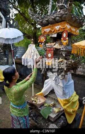 Indonesia, Island Bali, near Tejakula village, Gaia Oasis Resort. Woman worshipping in house temple. - Stock Photo