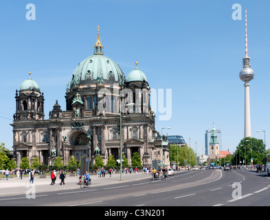 The Cathedral or Dom with Fernsehturm to rear on Museum Island in Mitte Berlin - Stock Photo