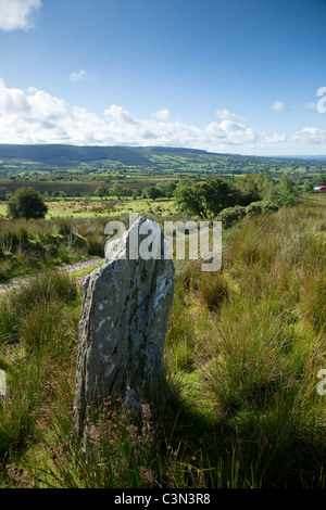 Standing stone near Eskradooey, Robbers Table, County Tyrone, Northern Ireland. - Stock Photo
