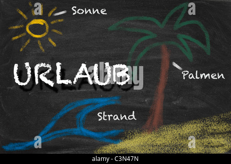 High resolution image with German chalk lettering and summer holiday related drawings. Illustration for vacation - Stock Photo