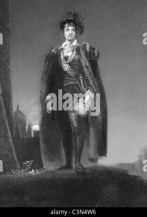 John Philip Kemble (1757-1823) as Hamlet on engraving from 1838. English actor. - Stock Photo