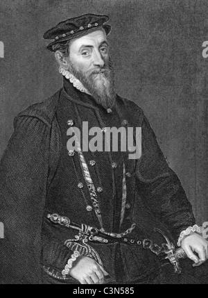 Thomas Gresham (1519-1579) on engraving from 1838. English merchant and financier. - Stock Photo