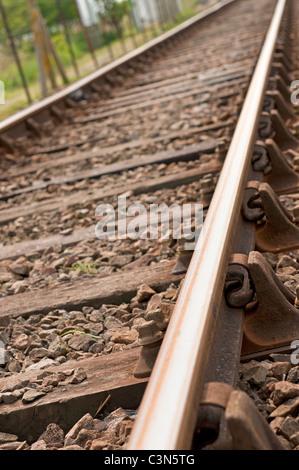 Rail track Norwich to Great Yarmouth Norfolk England UK East Anglian transport UK trains - Stock Photo