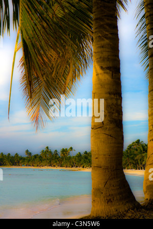 DIGITALLY ALTERED SOFT FOCUS IMAGE OF A DREAM BEACH IN THE CARIBBEAN - Stock Photo