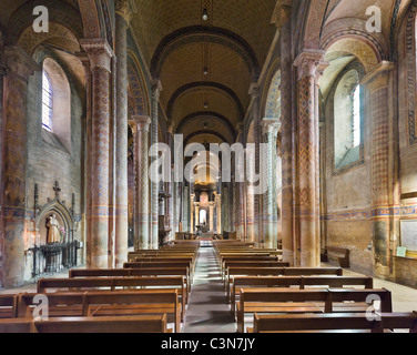 The interior of the church of Notre-Dame-la-Grande, Poitiers, Poitou Charentes, France - Stock Photo