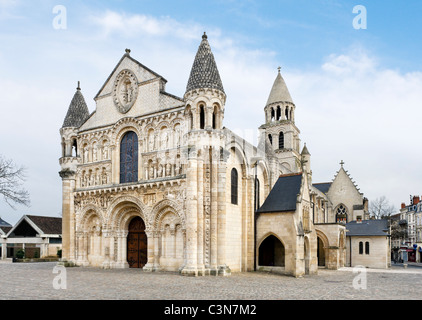 The west facade of the church of Notre-Dame-la-Grande, Place Charles de Gaulle, Poitiers, Poitou Charentes, France - Stock Photo