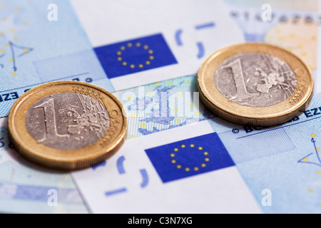 Euro currency of the eurozone - Stock Photo