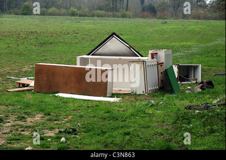 Rubbish left by travellers after they got evicted from a site in East Sussex - Stock Photo