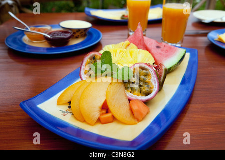 South Africa, Western Cape, Robertson Wine Valley. Guesthouse, restaurant and winery Fraai Uitzicht. Breakfast. - Stock Photo