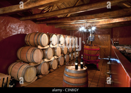 South Africa, Western Cape, Robertson Wine Valley. Guesthouse, restaurant and winery Fraai Uitzicht. Wine cellar. - Stock Photo
