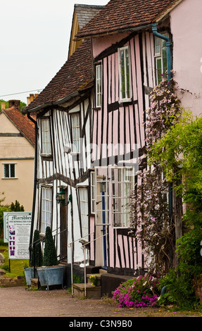 Medieval houses in Lavenham - Stock Photo