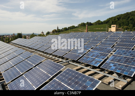 Solar panels on the roof of a brewery, Freiburg, Germany - Stock Photo