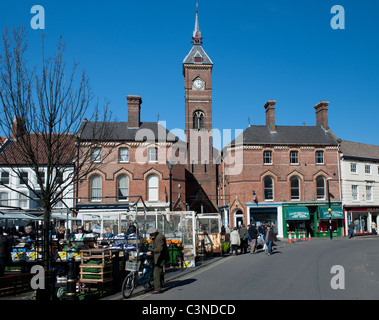 Louth Town centre showing market and market hall, Louth, Lincolnshire, England, UK. - Stock Photo