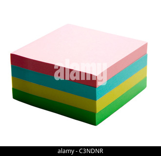 Stack of adhesive notes isolated over white - Stock Photo
