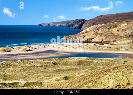 The beach and dunes of Sandwood Bay, Scotland, which can only be reached on foot from Sheigra. Taken on an almost - Stock Photo