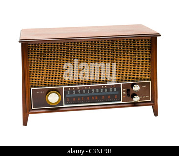Wooden old radio isolated over white - Stock Photo