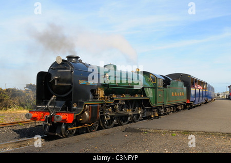 Miniature steam locomotive Northern Chief on Romney Hythe and Dymchurch Railway at Dungeness in Kent England UK - Stock Photo