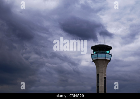 Control Tower at London Luton Airport, UK. - Stock Photo