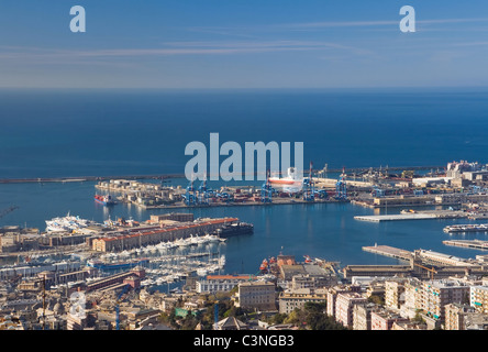 Aerial view of Genova harbor. Italy - Stock Photo
