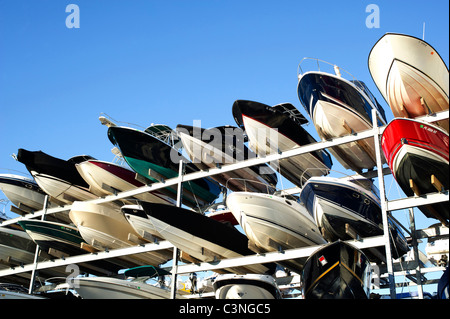 Boat storage in Miami, FL - Stock Photo