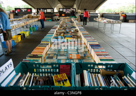 Southbank Centre's secondhand Book Market under Waterloo Bridge - Stock Photo