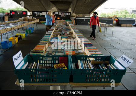 Southbank Centre's secondhand Book Market under Waterloo Bridge - Stock Photo