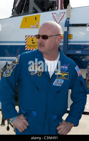 Space Shuttle Commander Mark Kelly after arriving for final preparations for Endeavour's liftoff to the Space Station - Stock Photo