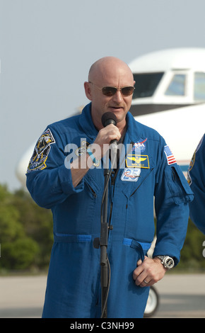 Space Shuttle Commander Mark Kelly after arriving for final preparations for Endeavour's liftoff to the Space Station. - Stock Photo