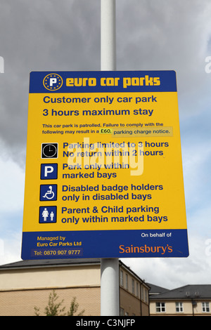 A Euro Car Parks sign in a U.K. supermarket car park. - Stock Photo