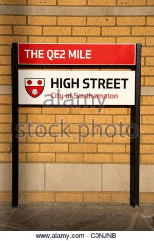 The QE2 Mile heritage trail, High Street, Southampton city, UK. - Stock Photo