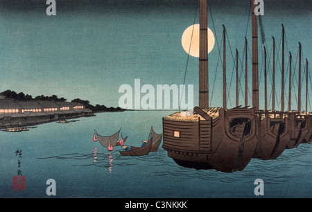 Fūkeiga - Japanese woodcut shows a moonlit scene with river and boats - circa 1850 - Stock Photo