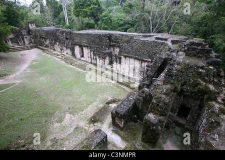 The Palacio de las Acanaladuras in Tikal, El Peten, Guatemala, Central America - Stock Photo
