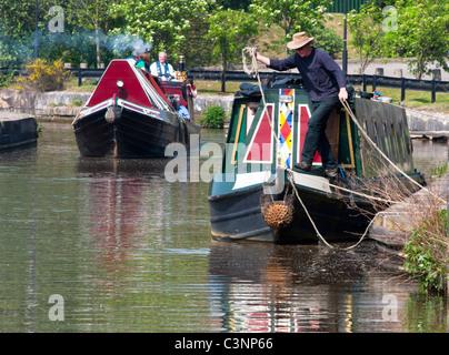 Boats on Stoke on Trent canal near Middleport pottery factory, Staffs. UK - Stock Photo
