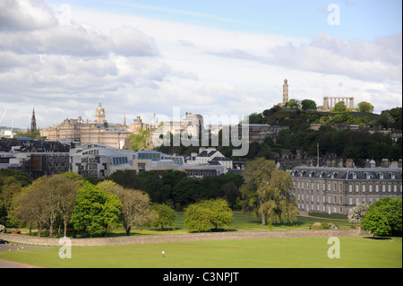 City of Edinburgh featuring the Scottish Parliament, Palace of Holyroodhouse and Calton Hill with Nelson's Monument - Stock Photo