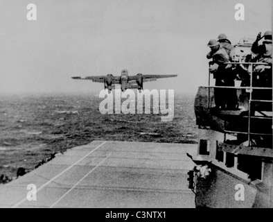 Take off from the deck of the USS Hornet of an Army B-25 on its way to take part in first U.S. air raid on Japan. - Stock Photo