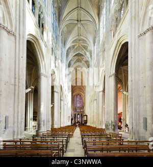 The interior of Tours Cathedral (Cathedrale Saint Gatien), Tours, Indre et Loire, France - Stock Photo