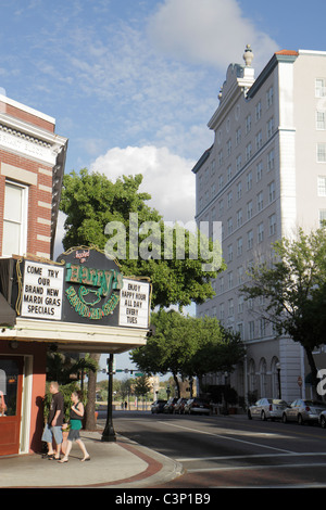 Lakeland Florida Harry's Seafood Bar and & Grille downtown street scene buildings - Stock Photo