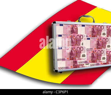 Close up of money case on spanish flag - Stock Photo