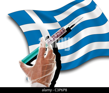 Close up of human hand with cash injection on greek flag - Stock Photo