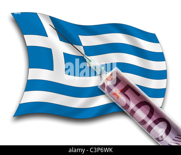 Close up of cash injection on greek flag - Stock Photo