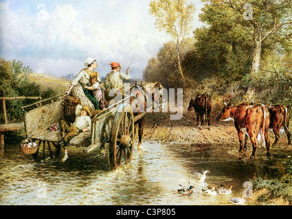 Returning From Market, Victorian watercolour of a rural scene as a cart crosses a ford on the river - Stock Photo