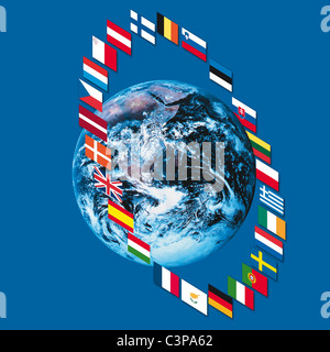 Variety of european flags around earth, close up - Stock Photo