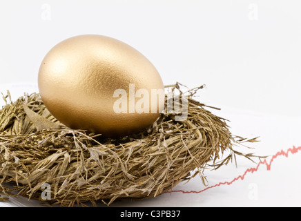 Gold nest egg sits in gold nest with rising chart of returns in background and copy space on right. - Stock Photo