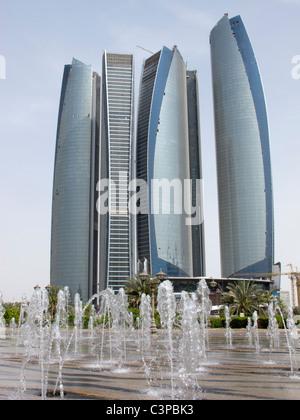 Modern high rise Etihad towers in Abu Dhabi United Arab Emirates UAE - Stock Photo